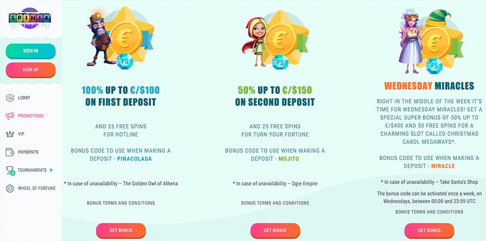 Spinia casino bonussen
