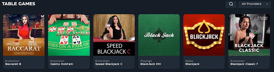 Tafelspellen en een live casino