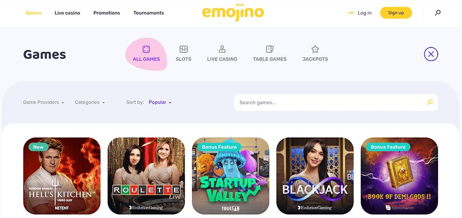 Prima selectie spellen bij Emojino casino