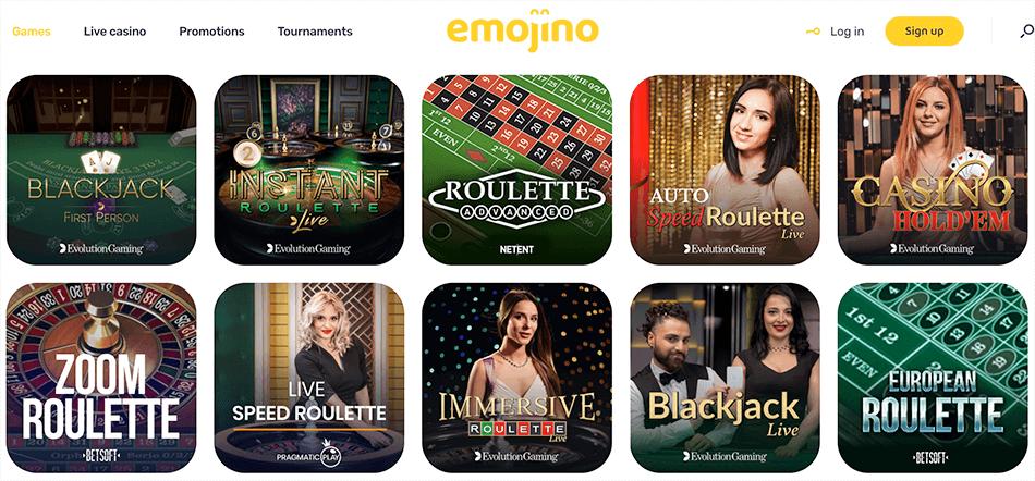 tafelspellen en voor de rest Live casino