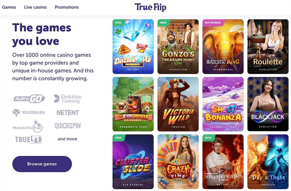 Overzichtelijk collectie spellen in True Flip casino